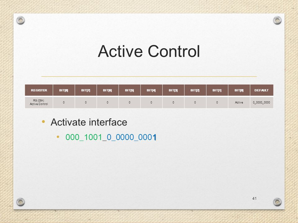 Active Control Activate interface 000_1001_0_0000_0001 REGISTER BIT[8]